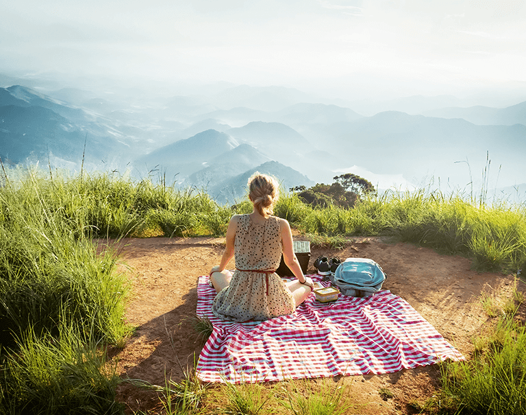 girl having a plat-based picnic